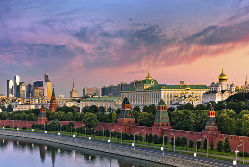 Kremlin wall and Moskva river on sunrise